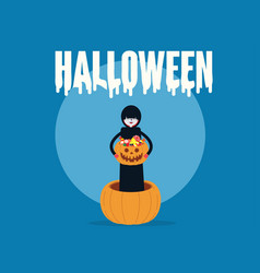 death holding pumpkin basket full candies and vector image