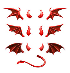 Devil tail horns and wings demonic red elements vector