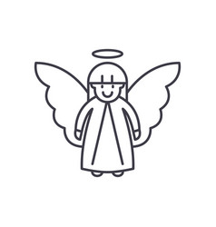 easter angel line icon concept easter angel vector image