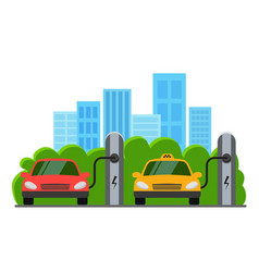 Electric cars at charging station eco car and vector