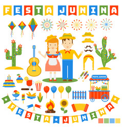 festa junina icons set vector image
