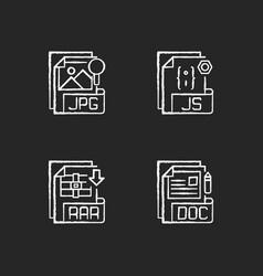 File types chalk white icons set on black vector