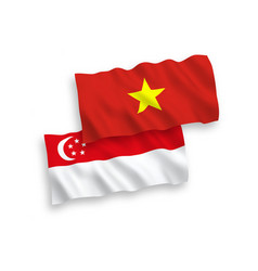 Flags vietnam and singapore on a white vector