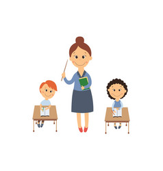 flat girl boy sitting at desk and teacher vector image vector image
