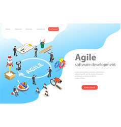 Flat isometric landing page of agile vector