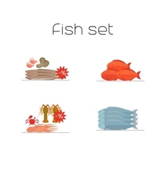 Foods market fish flat icons set vector image