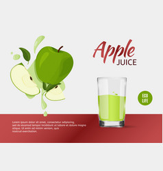 Fresh green apples design template for ads bright vector