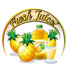 Fresh juice label with pineapples vector image