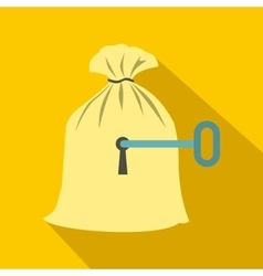 Full sack with a keyhole icon flat style vector