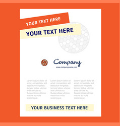golfball title page design for company profile vector image