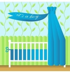 greeting card with blue babed vector image