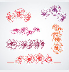 hand drawn roses in bloom set page corner vector image