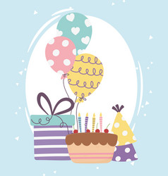 Happy day cake with gift box balloons and party vector