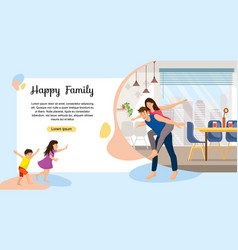 happy family enjoying new home web banner vector image