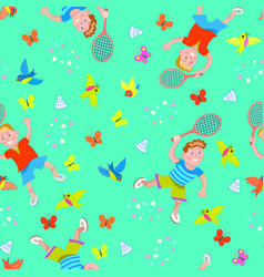 happy kids playing badminton seamless pattern vector image