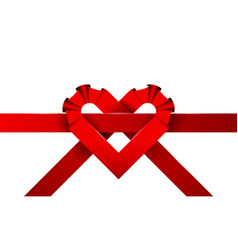 heart of red ribbons background vector image