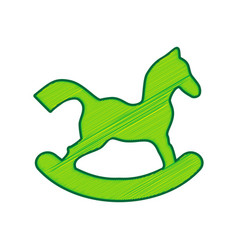 Horse toy sign lemon scribble icon on vector