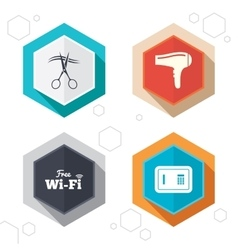 Hotel services icon Wi-fi Hairdryer and safe vector