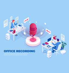 isometric office recording and digital sound wave vector image