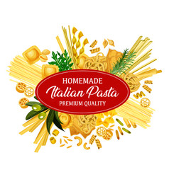 Italian pasta with pastry food and seasonings vector