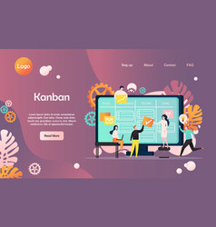 kanban website landing page design template vector image