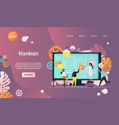 Kanban website landing page design template vector