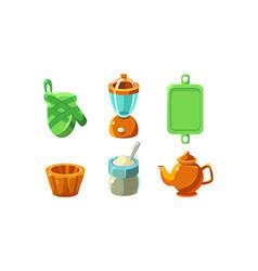 kitchen utensils set cooking tools equipment vector image