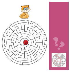 Kitten and wool ball - maze game with solution vector
