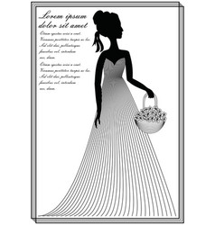 Lady with flower basket monochrome line art vector