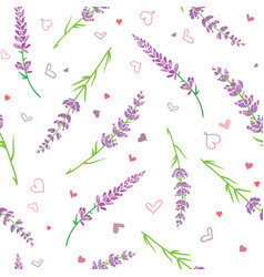 Lavender flowers and hearts seamless pattern vector