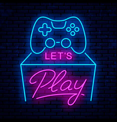 lets play neon sign design vector image