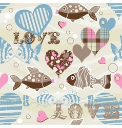 love fish seamless pattern vector image