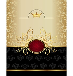 Luxury gold label with emblem vector