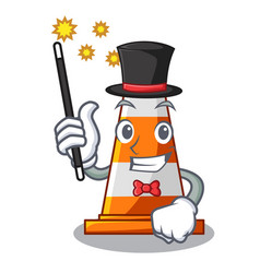 Magician on traffic cone against mascot argaet vector
