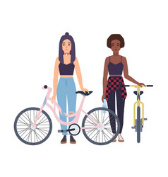 modern girls standing with bicycles cartoon flat vector image