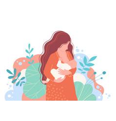 Mother breastfeeding her newborn baby vector