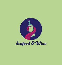 Octopus an wine logo seafood restaurant tentacle vector