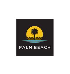 palm tree beach hotel restaurant vacation logo vector image