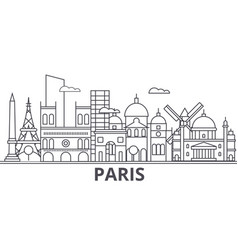 Paris architecture line skyline vector