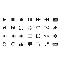 Player buttons black silhouette interface icons vector
