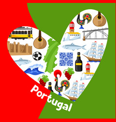 Portugal background design in shape of heart vector