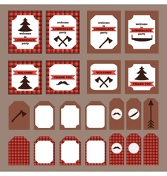 Printable set of vintage Lumberjack party elements vector image