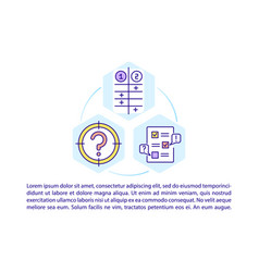 Problem evaluation concept line icons with text vector