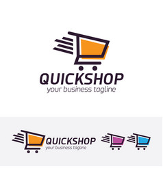 Quick shop logo design vector