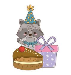 raccoon cartoon with happy birthday icon design vector image