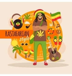 Rastafarian character pack for man vector