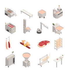 Sausage factory isometric icons vector