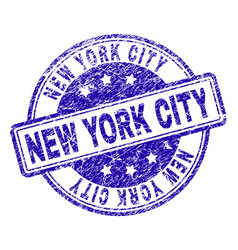 Scratched textured new york city stamp seal vector