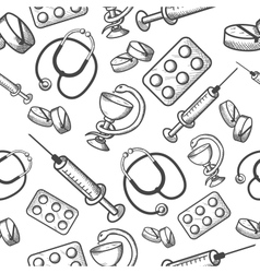 Seamless background of medical items vector image