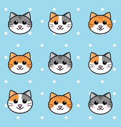 seamless cats face and stars pattern background vector image